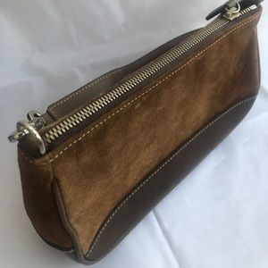 Coach, brown suede clutch